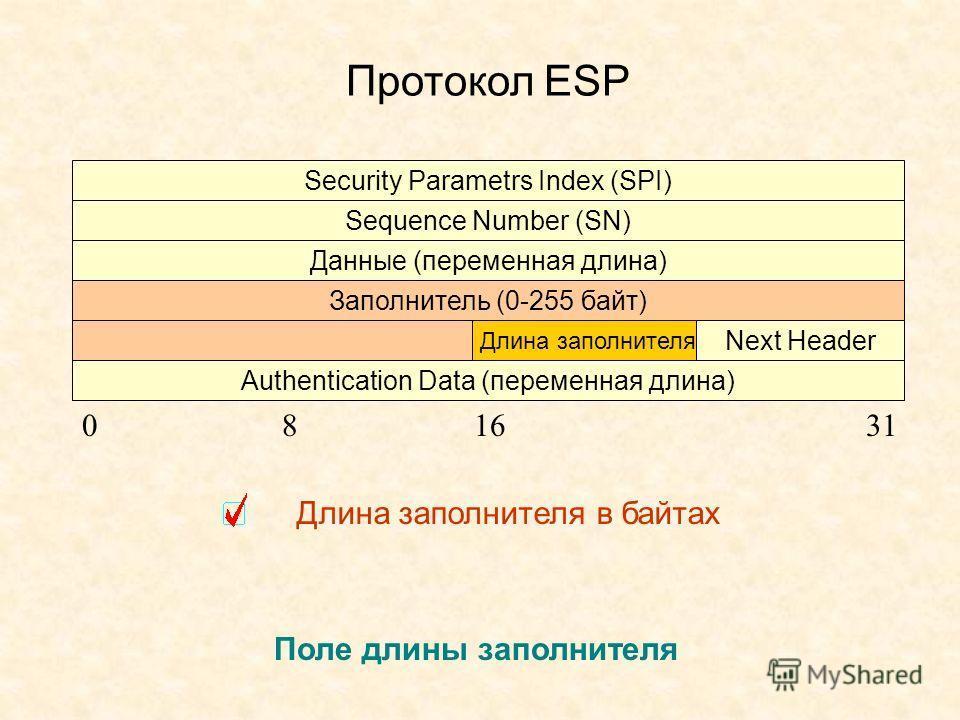 Протокол ESP Security Parametrs Index (SPI) Sequence Number (SN) Данные (переменная длина) Заполнитель (0-255 байт) Authentication Data (переменная длина) Длина заполнителя Next Header 081631 Поле длины заполнителя Длина заполнителя в байтах