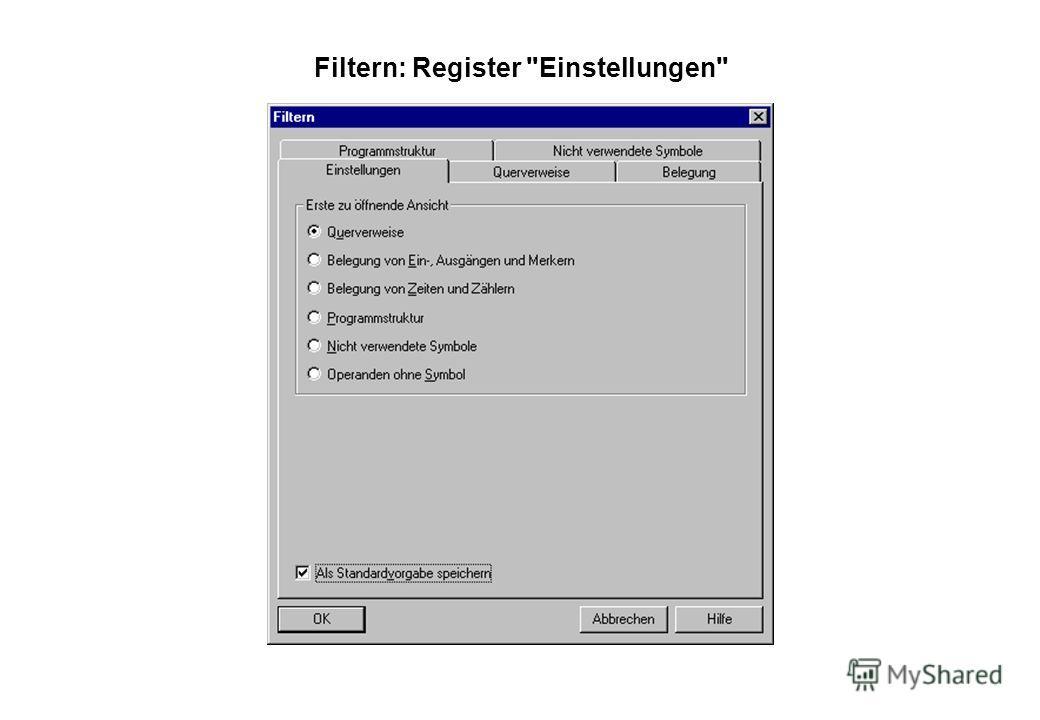 Filtern: Register Einstellungen