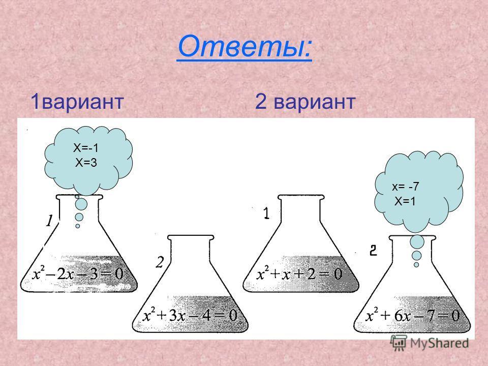 Ответы: 1 вариант 2 вариант X=-1 X=3 x= -7 X=1