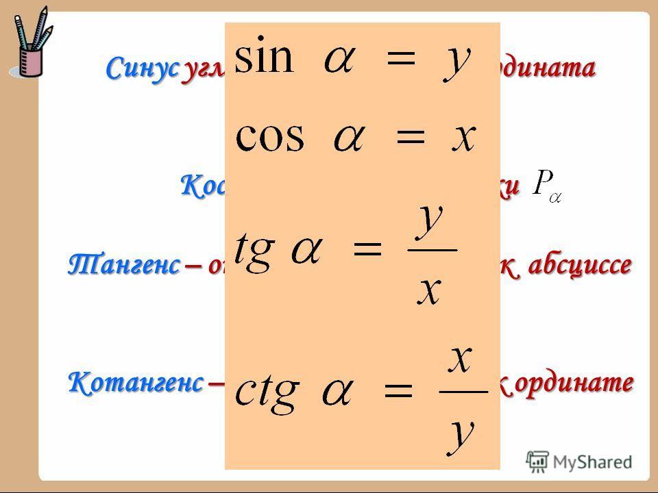 Синус угла определяется как ордината точки Косинус абсцисса точки Тангенс – отношение ординаты к абсциссе точки Котангенс – отношение абсциссы к ординате точки