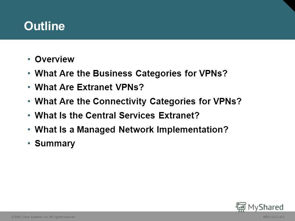 © 2006 Cisco Systems, Inc. All rights reserved. MPLS v2.24-2 Outline Overview What Are the Business Categories for VPNs? What Are Extranet VPNs? What Are the Connectivity Categories for VPNs? What Is the Central Services Extranet? What Is a Managed N