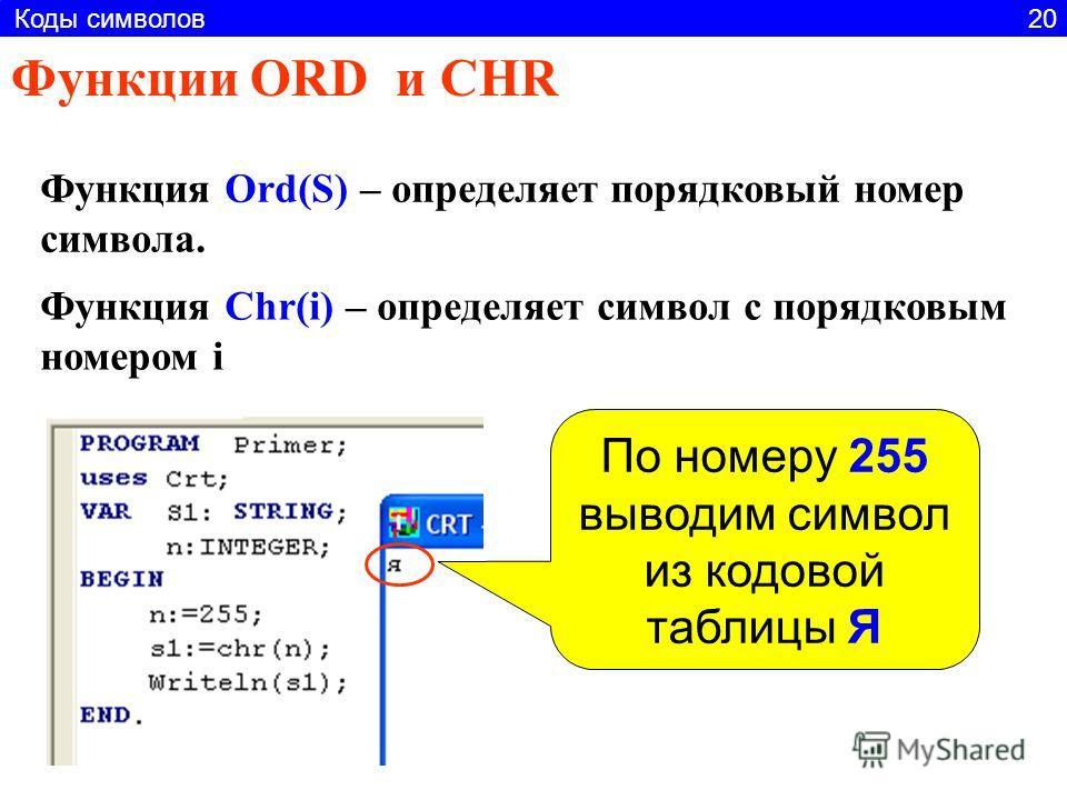Функции ORD и CHR Функция Ord(S) – определяет порядковый номер символа. Функция Chr(i) – определяет символ с порядковым номером i По номеру 255 выводим символ из кодовой таблицы Я Коды символов 20