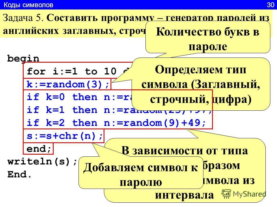 begin for i:=1 to 10 do begin k:=random(3); if k=0 then n:=random(25)+65; if k=1 then n:=random(25)+97; if k=2 then n:=random(9)+49; s:=s+chr(n); end; writeln(s); End. Задача 5. Составить программу – генератор паролей из английских заглавных, строчны