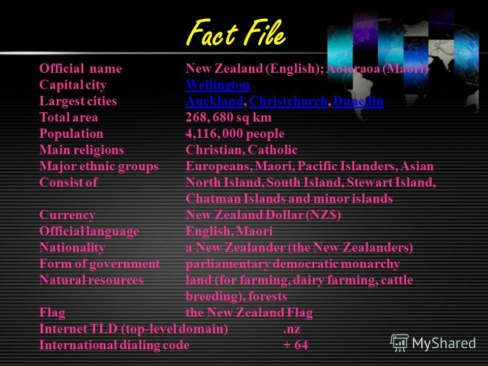 Fact File Official nameNew Zealand (English); Aoteraoa (Maori) Capital cityWellingtonWellington Largest citiesAuckland, Christchurch, DunedinAucklandChristchurchDunedin Total area268, 680 sq km Population 4,116, 000 people Main religionsChristian, Ca