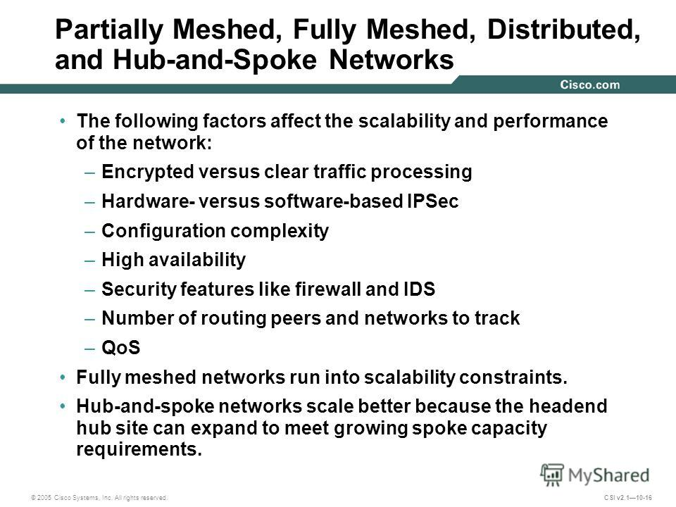 © 2005 Cisco Systems, Inc. All rights reserved. CSI v2.110-16 Partially Meshed, Fully Meshed, Distributed, and Hub-and-Spoke Networks The following factors affect the scalability and performance of the network: –Encrypted versus clear traffic process