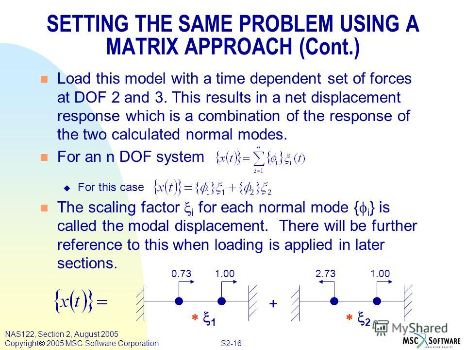 S2-16 NAS122, Section 2, August 2005 Copyright 2005 MSC.Software Corporation SETTING THE SAME PROBLEM USING A MATRIX APPROACH (Cont.) n Load this model with a time dependent set of forces at DOF 2 and 3. This results in a net displacement response wh