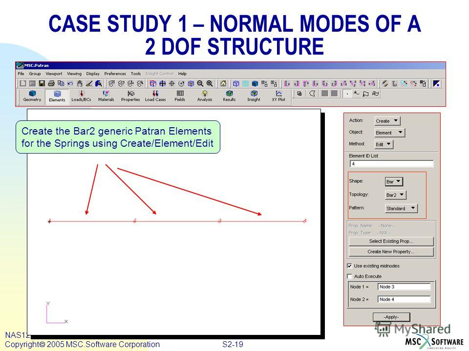 S2-19 NAS122, Section 2, August 2005 Copyright 2005 MSC.Software Corporation CASE STUDY 1 – NORMAL MODES OF A 2 DOF STRUCTURE Create the Bar2 generic Patran Elements for the Springs using Create/Element/Edit