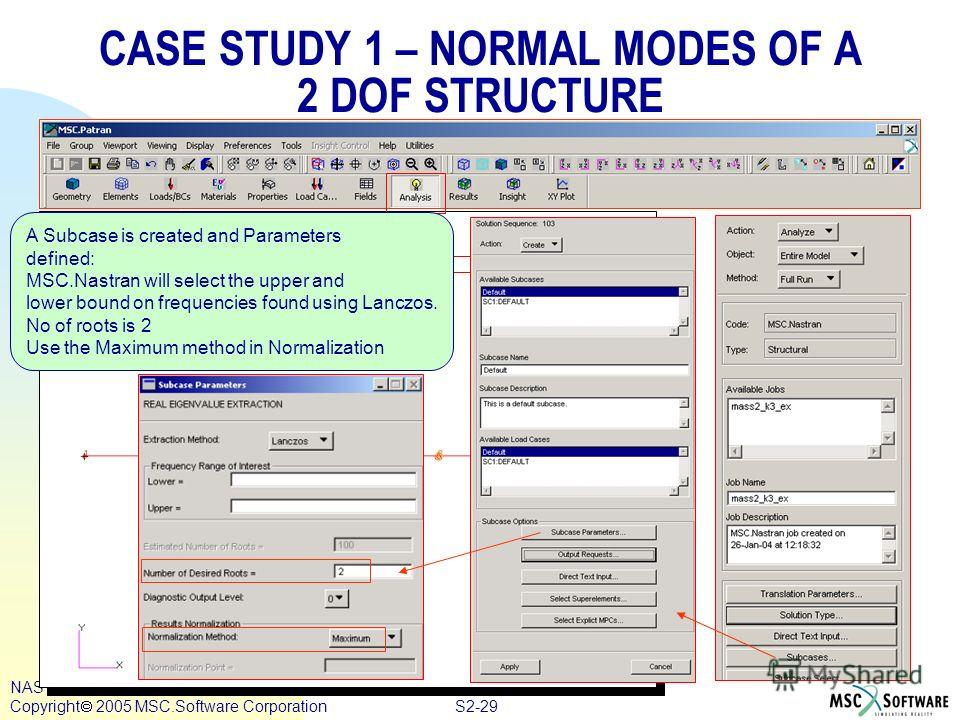 S2-29 NAS122, Section 2, August 2005 Copyright 2005 MSC.Software Corporation CASE STUDY 1 – NORMAL MODES OF A 2 DOF STRUCTURE A Subcase is created and Parameters defined: MSC.Nastran will select the upper and lower bound on frequencies found using La