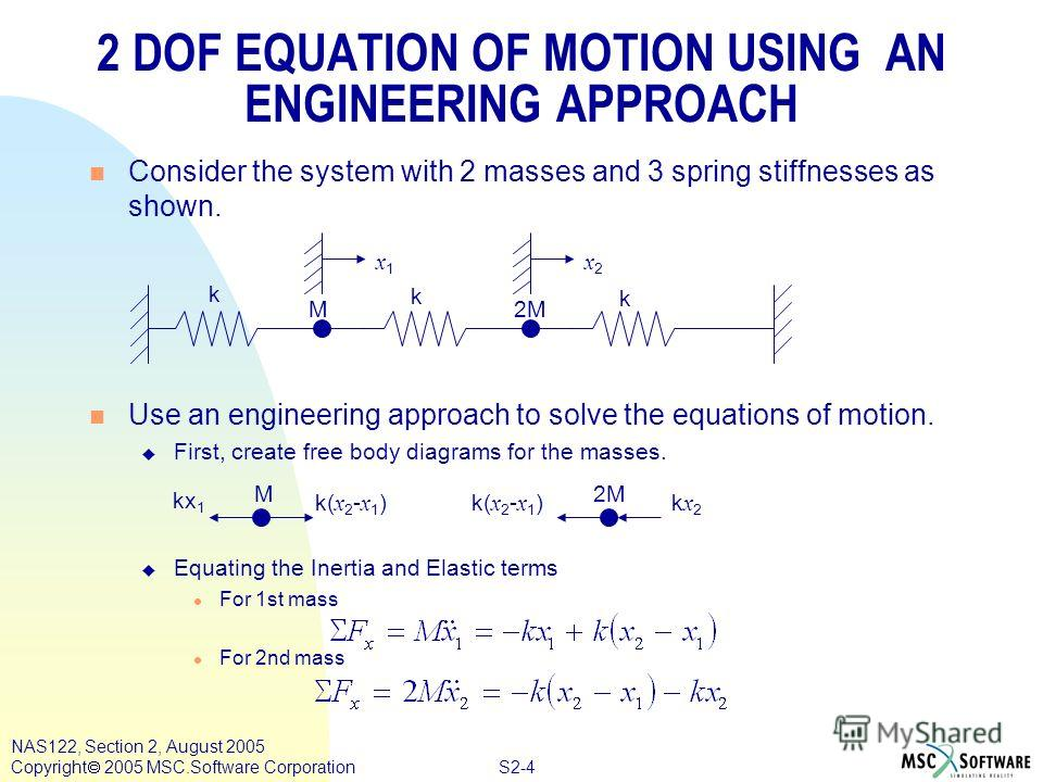 S2-4 NAS122, Section 2, August 2005 Copyright 2005 MSC.Software Corporation n Consider the system with 2 masses and 3 spring stiffnesses as shown. n Use an engineering approach to solve the equations of motion. u First, create free body diagrams for
