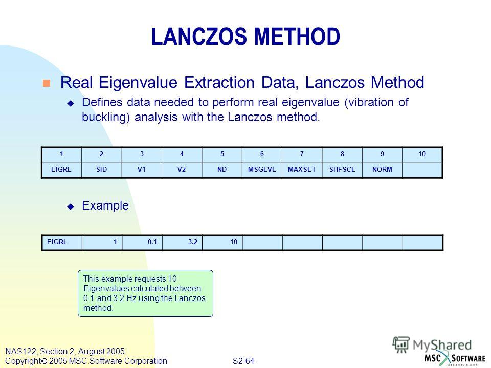 S2-64 NAS122, Section 2, August 2005 Copyright 2005 MSC.Software Corporation LANCZOS METHOD n Real Eigenvalue Extraction Data, Lanczos Method u Defines data needed to perform real eigenvalue (vibration of buckling) analysis with the Lanczos method. u