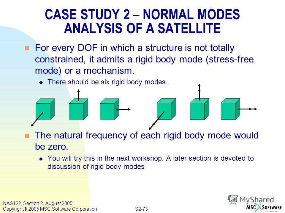 S2-73 NAS122, Section 2, August 2005 Copyright 2005 MSC.Software Corporation CASE STUDY 2 – NORMAL MODES ANALYSIS OF A SATELLITE n For every DOF in which a structure is not totally constrained, it admits a rigid body mode (stress-free mode) or a mech