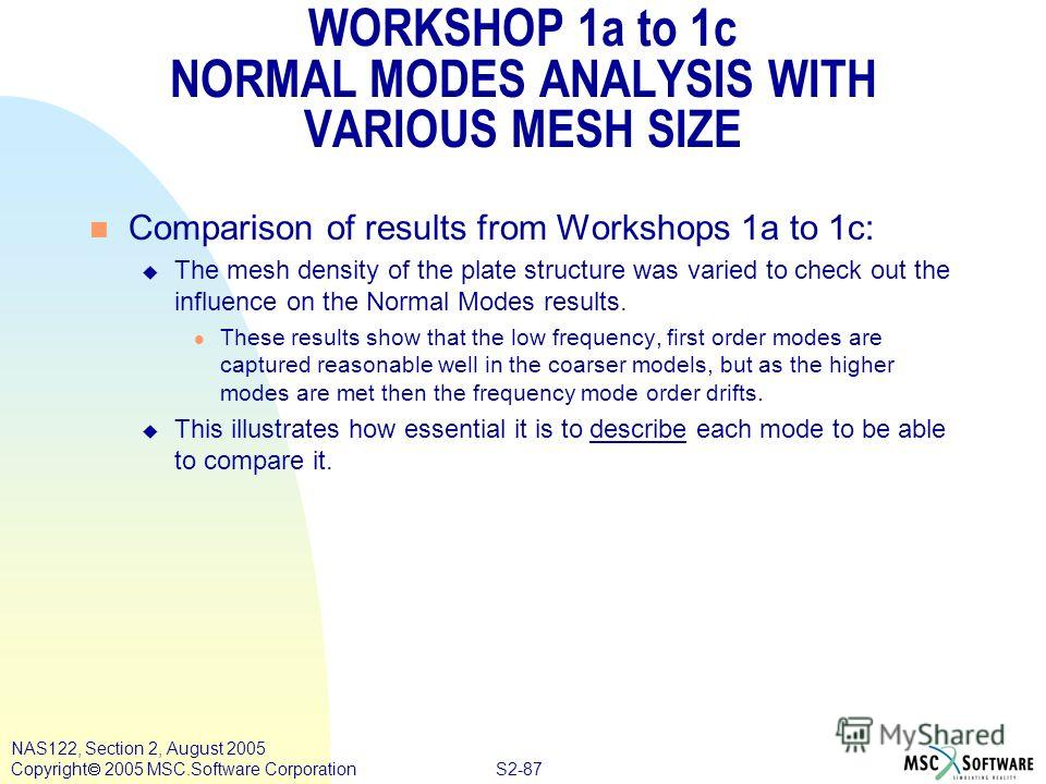 S2-87 NAS122, Section 2, August 2005 Copyright 2005 MSC.Software Corporation WORKSHOP 1a to 1c NORMAL MODES ANALYSIS WITH VARIOUS MESH SIZE n Comparison of results from Workshops 1a to 1c: u The mesh density of the plate structure was varied to check