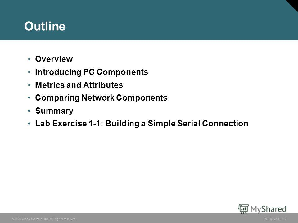 © 2005 Cisco Systems, Inc. All rights reserved. INTRO v2.11-2 Outline Overview Introducing PC Components Metrics and Attributes Comparing Network Components Summary Lab Exercise 1-1: Building a Simple Serial Connection