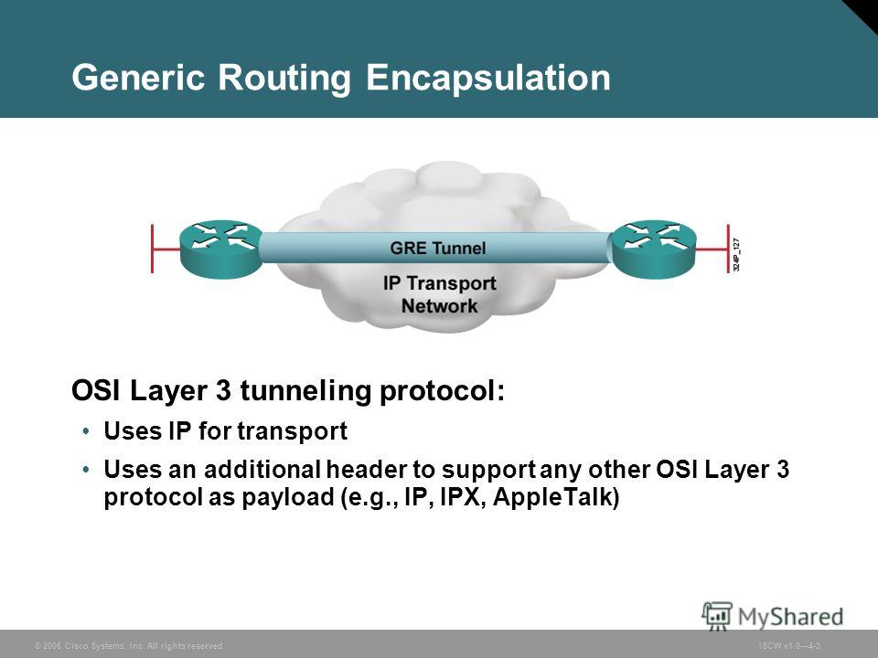© 2006 Cisco Systems, Inc. All rights reserved.ISCW v1.04-3 Generic Routing Encapsulation OSI Layer 3 tunneling protocol: Uses IP for transport Uses an additional header to support any other OSI Layer 3 protocol as payload (e.g., IP, IPX, AppleTalk)
