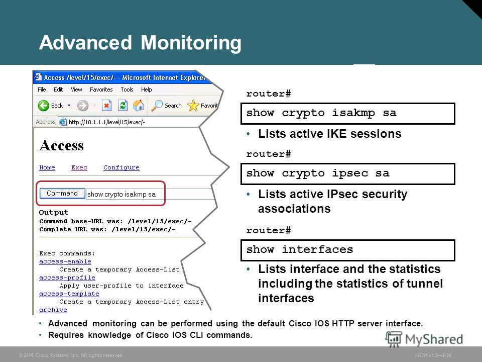 © 2006 Cisco Systems, Inc. All rights reserved.ISCW v1.04-36 Advanced Monitoring Advanced monitoring can be performed using the default Cisco IOS HTTP server interface. Requires knowledge of Cisco IOS CLI commands. show crypto isakmp sa Lists active
