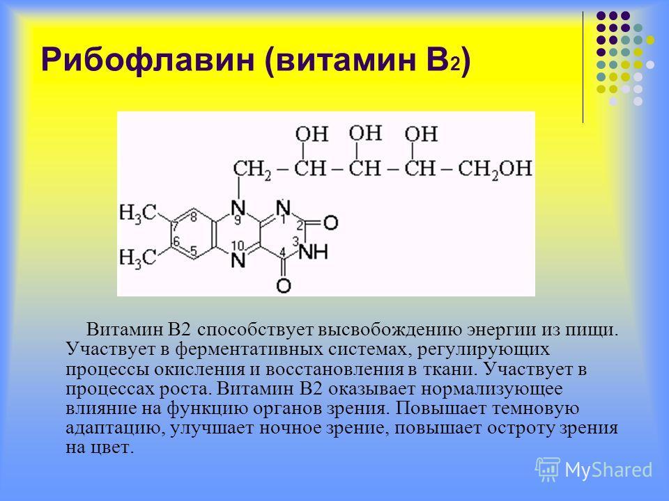 Рибофлавин (витамин В 2 ) Витамин В2 способствует высвобождению энергии из пищи. Участвует в ферментативных системах, регулирующих процессы окисления и восстановления в ткани. Участвует в процессах роста. Витамин В2 оказывает нормализующее влияние на