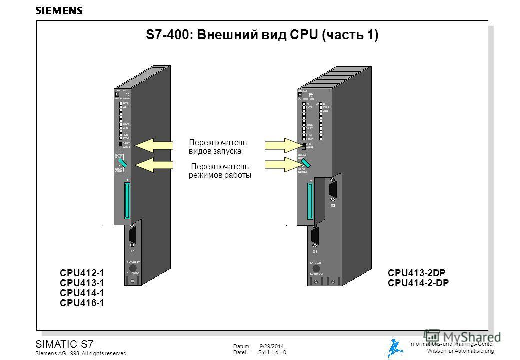 Datum: 9/29/2014 Datei:SYH_1d.10 SIMATIC S7 Siemens AG 1998. All rights reserved. Informations- und Trainings-Center Wissen fьr Automatisierung S7-400: Внешний вид CPU (часть 1) Переключатель видов запуска Переключатель режимов работы CPU412-1 CPU413