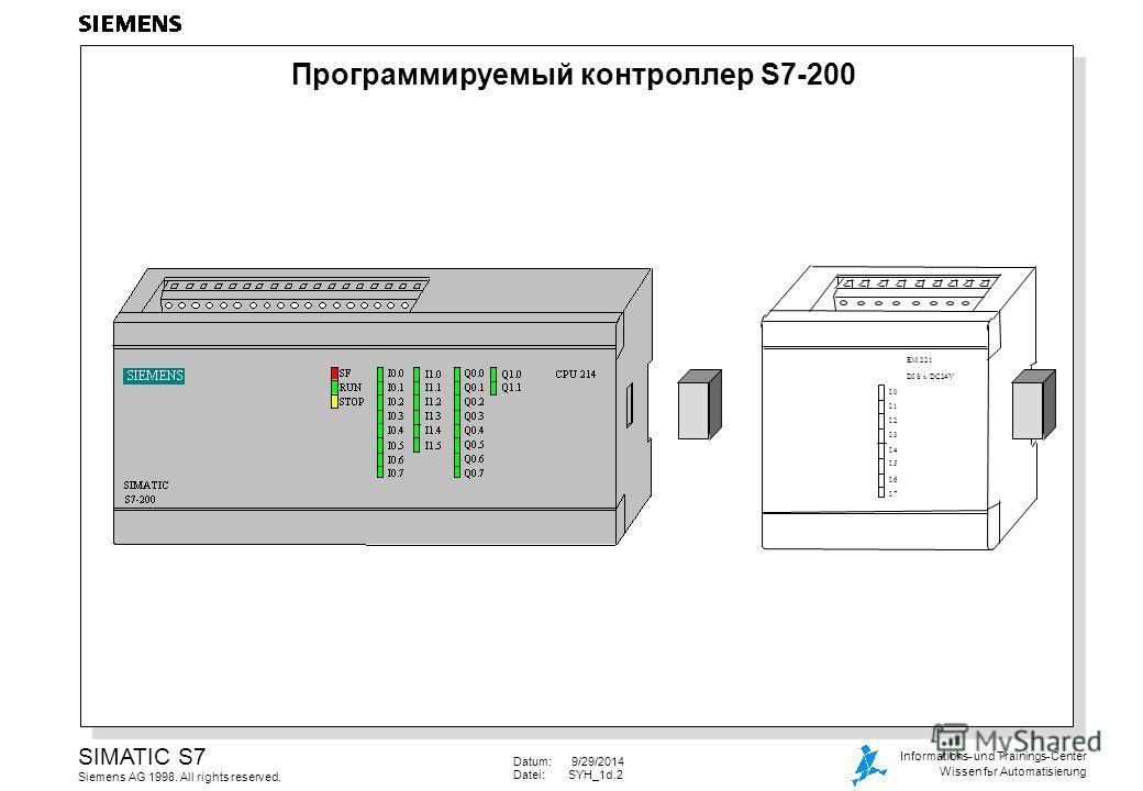 Datum: 9/29/2014 Datei:SYH_1d.2 SIMATIC S7 Siemens AG 1998. All rights reserved. Informations- und Trainings-Center Wissen fьr Automatisierung Программируемый контроллер S7-200 EM 221 DI 8 x DC24V I.0 I.1 I.2 I.3 I.4 I.5 I.6 I.7