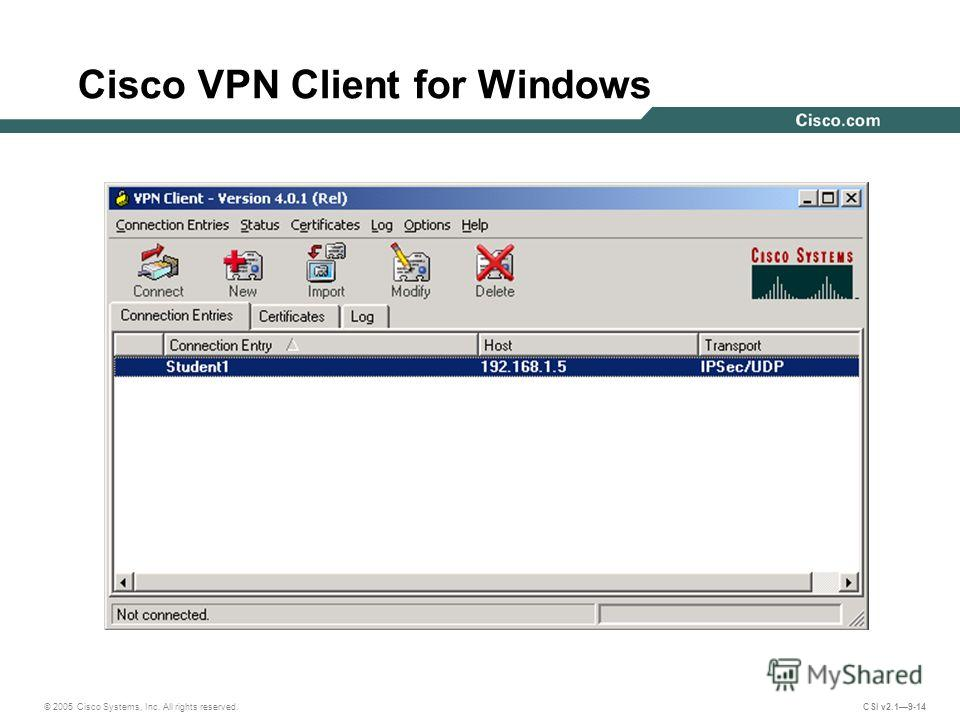 © 2005 Cisco Systems, Inc. All rights reserved. CSI v2.19-14 Cisco VPN Client for Windows