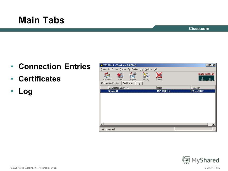 © 2005 Cisco Systems, Inc. All rights reserved. CSI v2.19-16 Main Tabs Connection Entries Certificates Log