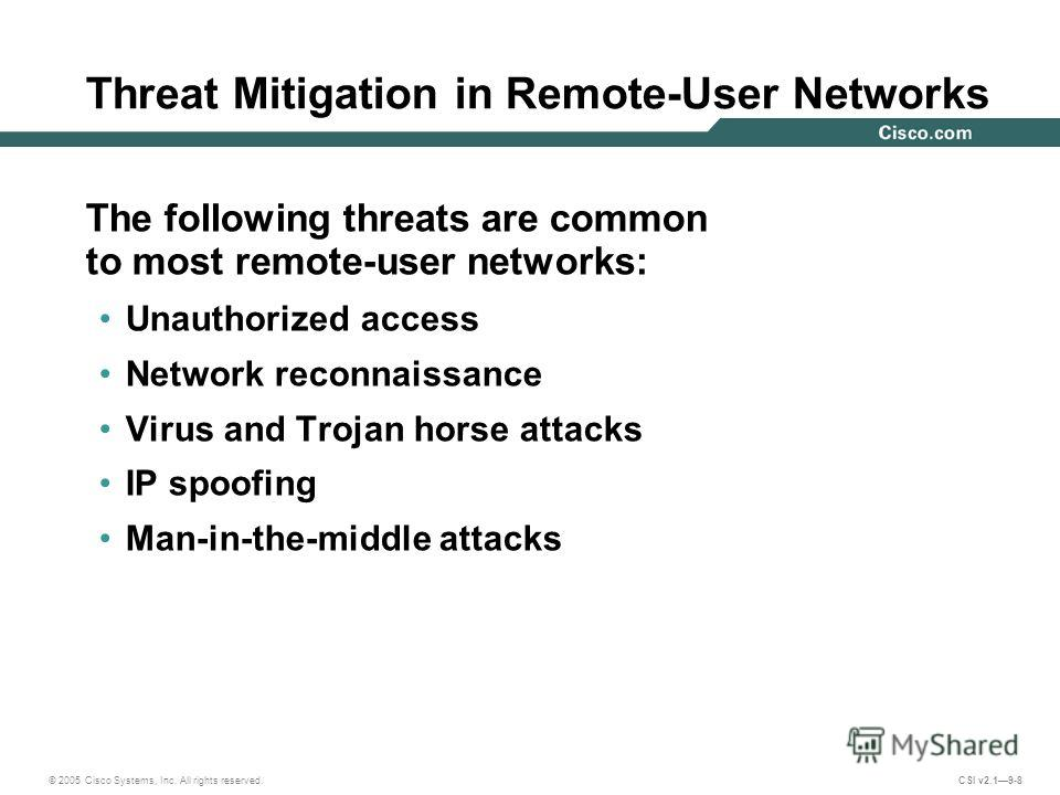 © 2005 Cisco Systems, Inc. All rights reserved. CSI v2.19-8 Threat Mitigation in Remote-User Networks The following threats are common to most remote-user networks: Unauthorized access Network reconnaissance Virus and Trojan horse attacks IP spoofing