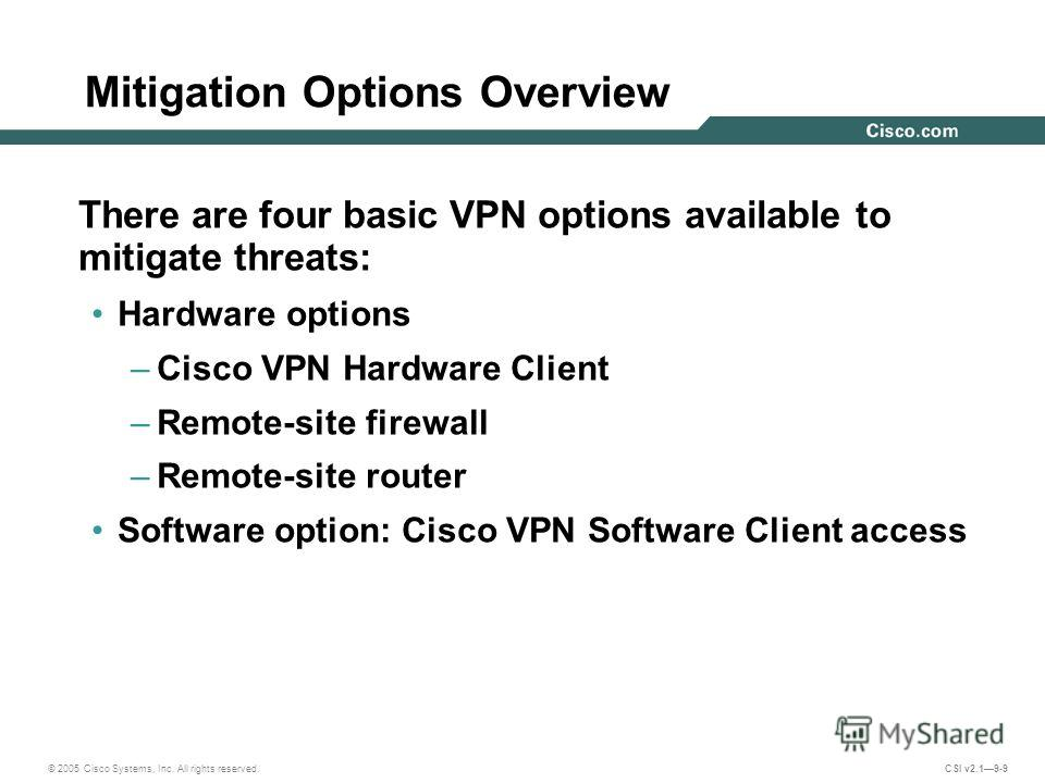 © 2005 Cisco Systems, Inc. All rights reserved. CSI v2.19-9 Mitigation Options Overview There are four basic VPN options available to mitigate threats: Hardware options –Cisco VPN Hardware Client –Remote-site firewall –Remote-site router Software opt