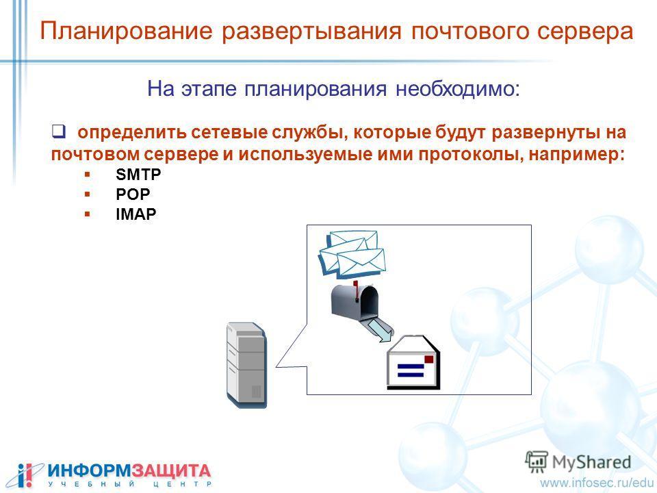 Планирование развертывания почтового сервера определить сетевые службы, которые будут развернуты на почтовом сервере и используемые ими протоколы, например: SMTP POP IMAP На этапе планирования необходимо: