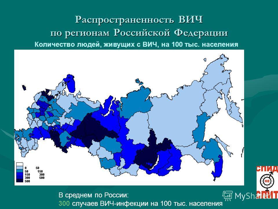 Распространенность ВИЧ по регионам Российской Федерации Количество людей, живущих с ВИЧ, на 100 тыс. населения В среднем по России: 300 случаев ВИЧ-инфекции на 100 тыс. населения