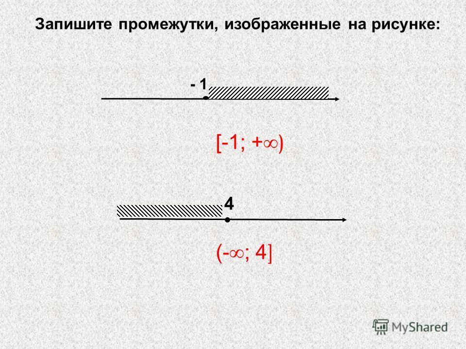 - 1 4 Запишите промежутки, изображенные на рисунке: [-1; + ) (- ; 4 ]