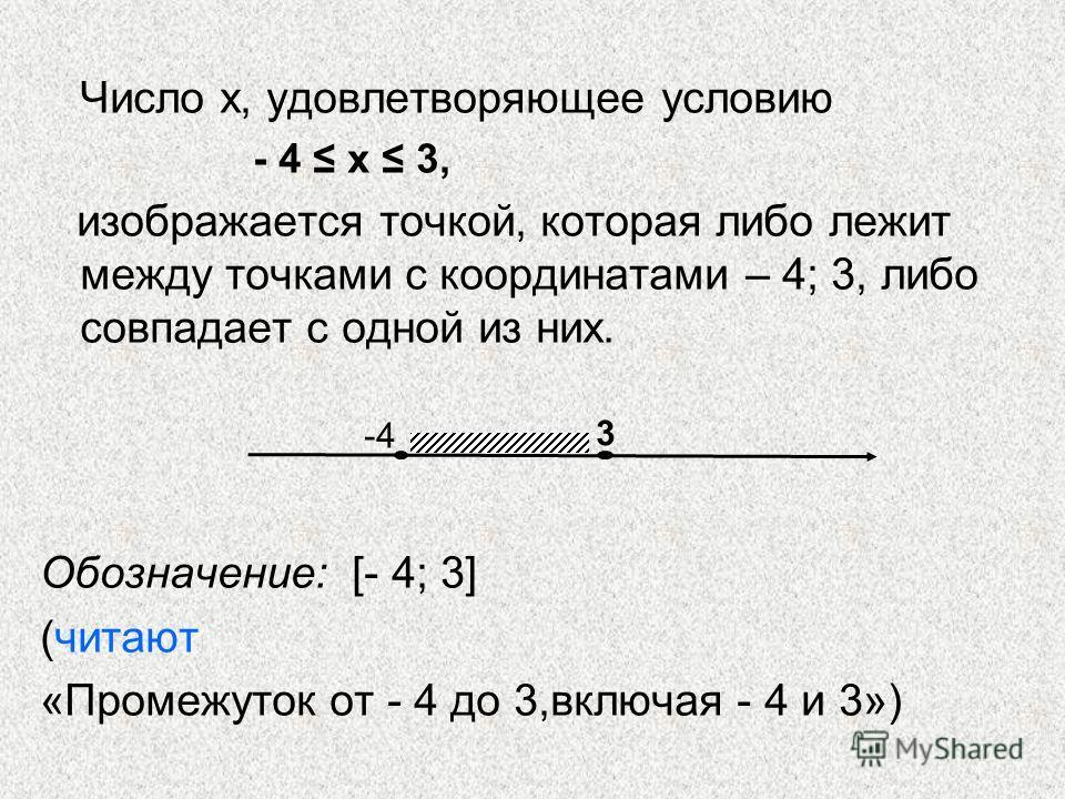 Число х, удовлетворяющее условию - 4 х 3, изображается точкой, которая либо лежит между точками с координатами – 4; 3, либо совпадает с одной из них. Обозначение: [- 4; 3] (читают «Промежуток от - 4 до 3,включая - 4 и 3») -4 3