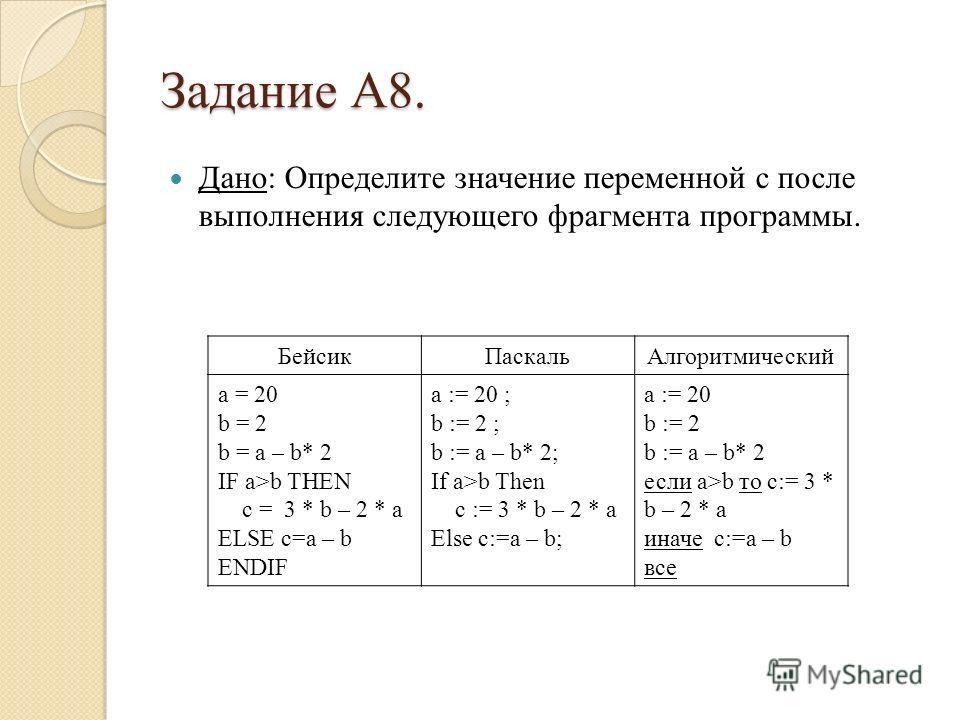 Задание А8. Дано: Определите значение переменной c после выполнения следующего фрагмента программы. Бейсик ПаскальАлгоритмический a = 20 b = 2 b = a – b* 2 IF a>b THEN c = 3 * b – 2 * a ELSE c=a – b ENDIF a := 20 ; b := 2 ; b := a – b* 2; If a>b Then
