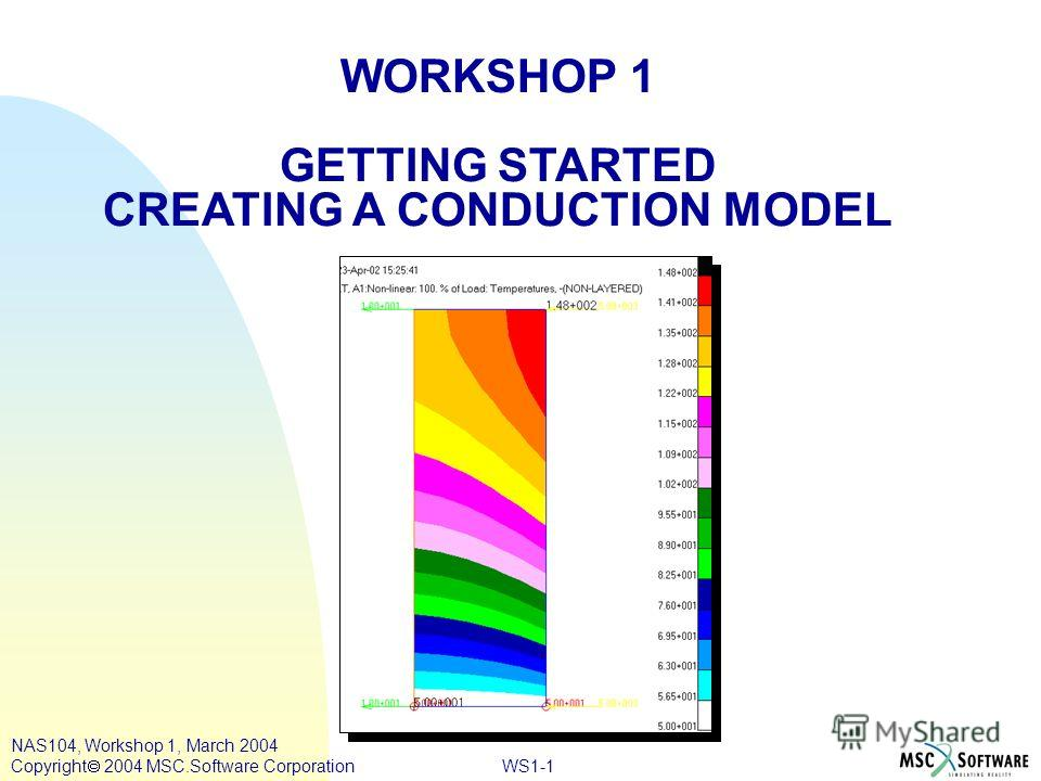 WORKSHOP 1 GETTING STARTED CREATING A CONDUCTION MODEL WS1-1 NAS104, Workshop 1, March 2004 Copyright 2004 MSC.Software Corporation