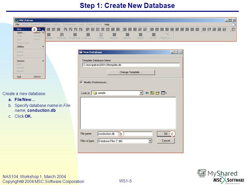 WS1-5 NAS104, Workshop 1, March 2004 Copyright 2004 MSC.Software Corporation Step 1: Create New Database Create a new database. a.File/New… b.Specify database name in File name, conduction.db c.Click OK. a c a b