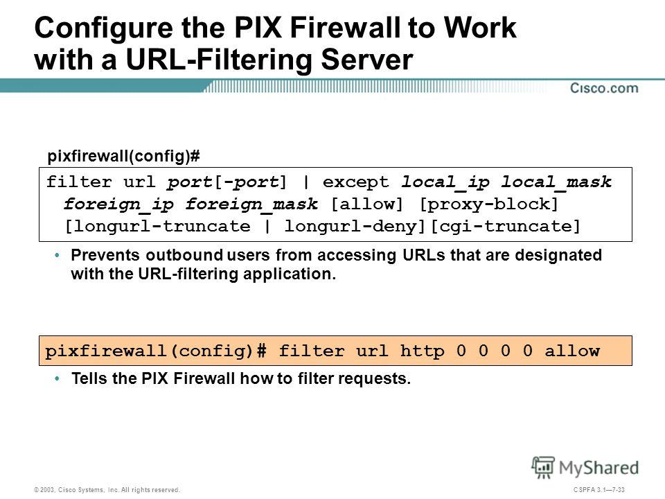 © 2003, Cisco Systems, Inc. All rights reserved. CSPFA 3.17-33 Configure the PIX Firewall to Work with a URL-Filtering Server Prevents outbound users from accessing URLs that are designated with the URL-filtering application. pixfirewall(config)# pix