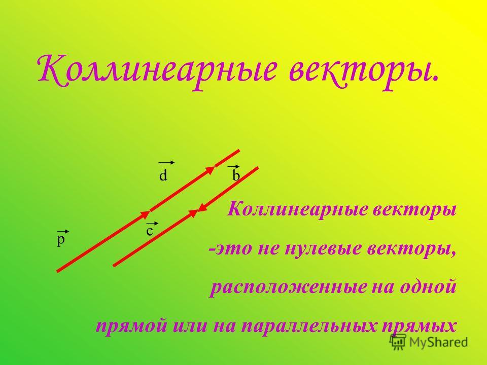 Коллинеарные векторы. Коллинеарные векторы -это не нулевые векторы, расположенные на одной прямой или на параллельных прямых p d c b