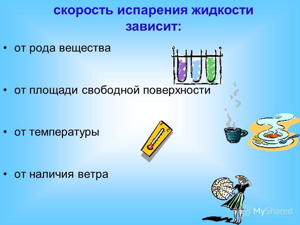 скорость испарения жидкости зависит: от рода вещества от площади свободной поверхности от температуры от наличия ветра