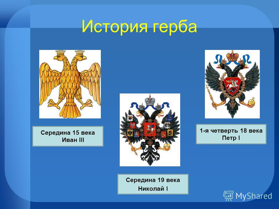 История герба 1-я четверть 18 века Петр I Середина 19 века Николай I Середина 15 века Иван III