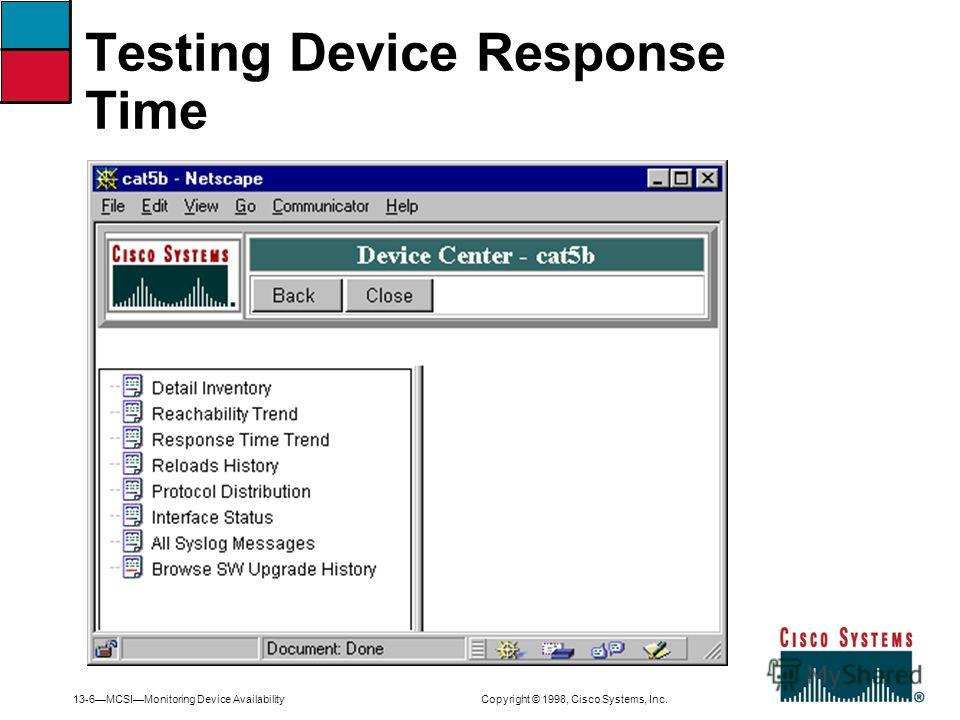 13-6MCSIMonitoring Device Availability Copyright © 1998, Cisco Systems, Inc. Testing Device Response Time