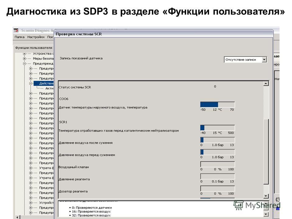 Диагностика из SDP3 в разделе «Функции пользователя»