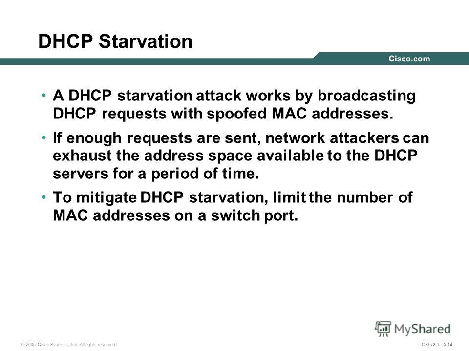 © 2005 Cisco Systems, Inc. All rights reserved. CSI v2.15-14 DHCP Starvation A DHCP starvation attack works by broadcasting DHCP requests with spoofed MAC addresses. If enough requests are sent, network attackers can exhaust the address space availab