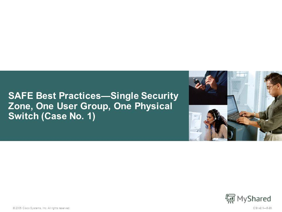 SAFE Best PracticesSingle Security Zone, One User Group, One Physical Switch (Case No. 1) © 2005 Cisco Systems, Inc. All rights reserved. CSI v2.15-20
