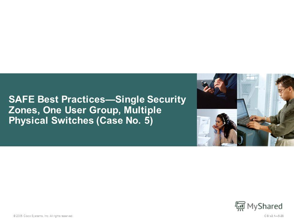 SAFE Best PracticesSingle Security Zones, One User Group, Multiple Physical Switches (Case No. 5) © 2005 Cisco Systems, Inc. All rights reserved. CSI v2.15-28