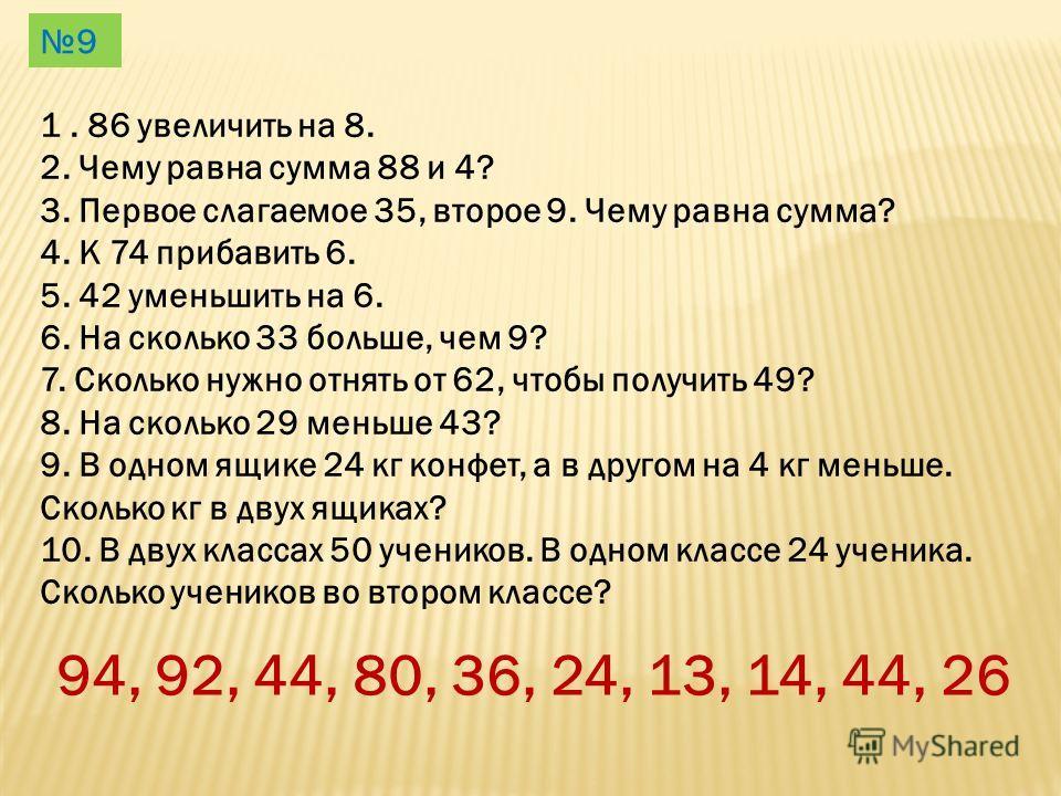 1. 86 увеличить на 8. 2. Чему равна сумма 88 и 4? 3. Первое слагаемое 35, второе 9. Чему равна сумма? 4. К 74 прибавить 6. 5. 42 уменьшить на 6. 6. На сколько 33 больше, чем 9? 7. Сколько нужно отнять от 62, чтобы получить 49? 8. На сколько 29 меньше