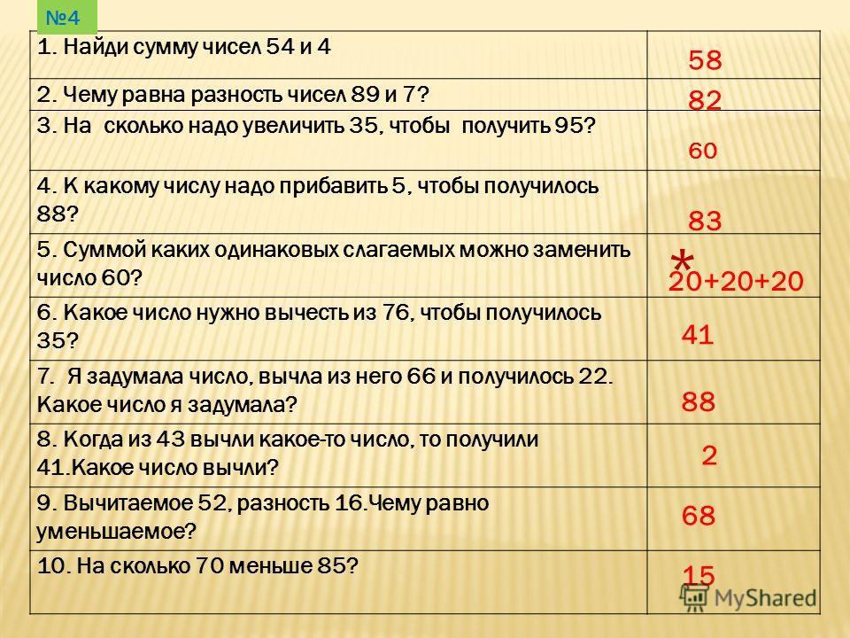 1. Найди сумму чисел 54 и 4 2. Чему равна разность чисел 89 и 7? 3. На сколько надо увеличить 35, чтобы получить 95? 4. К какому числу надо прибавить 5, чтобы получилось 88? 5. Суммой каких одинаковых слагаемых можно заменить число 60? * 6. Какое чис