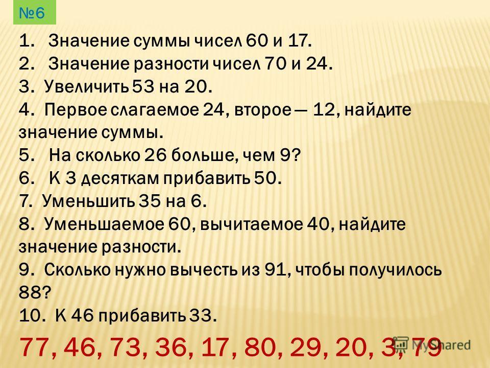 1. Значение суммы чисел 60 и 17. 2. Значение разности чисел 70 и 24. 3. Увеличить 53 на 20. 4. Первое слагаемое 24, второе 12, найдите значение суммы. 5. На сколько 26 больше, чем 9? 6. К 3 десяткам прибавить 50. 7. Уменьшить 35 на 6. 8. Уменьшаемое