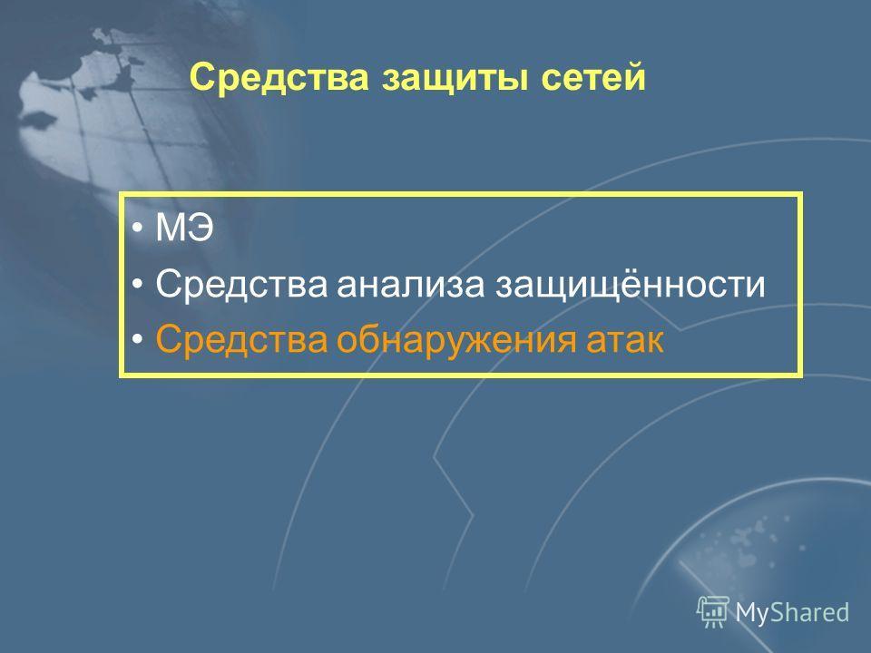 Средства защиты сетей МЭ Средства анализа защищённости Средства обнаружения атак