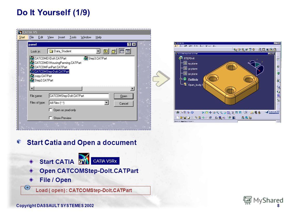 Copyright DASSAULT SYSTEMES 20028 Do It Yourself (1/9) Start Catia and Open a document Start CATIA Open CATCOMStep-Dolt.CATPart File / Open Load ( open) : CATCOMStep-Dolt.CATPart CATIA V5Rx