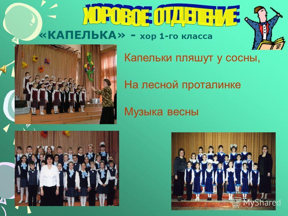 «КАПЕЛЬКА» - хор 1-го класса Капельки пляшут у сосны, На лесной проталинке Музыка весны