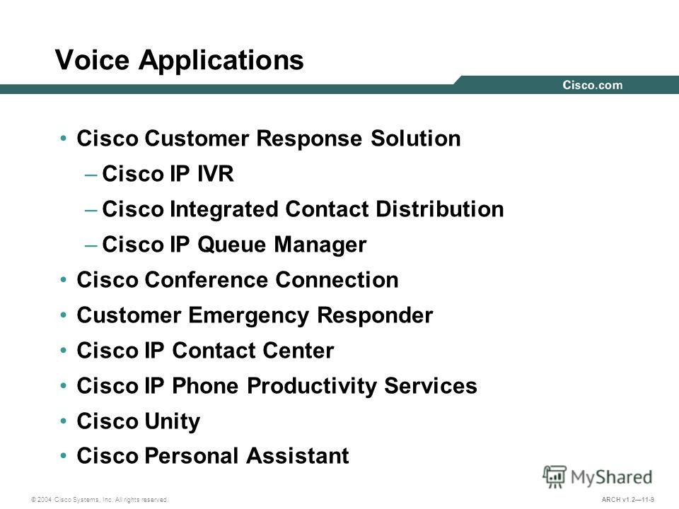 © 2004 Cisco Systems, Inc. All rights reserved. ARCH v1.211-9 Voice Applications Cisco Customer Response Solution –Cisco IP IVR –Cisco Integrated Contact Distribution –Cisco IP Queue Manager Cisco Conference Connection Customer Emergency Responder Ci