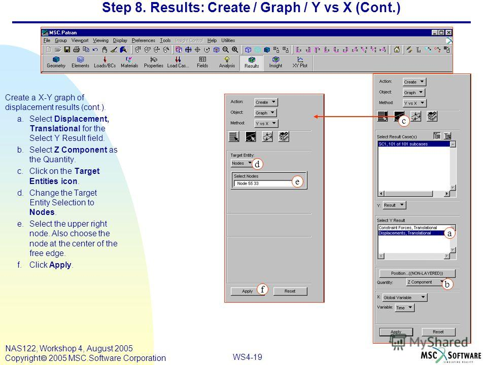 WS4-19 NAS122, Workshop 4, August 2005 Copyright 2005 MSC.Software Corporation Step 8. Results: Create / Graph / Y vs X (Cont.) Create a X-Y graph of displacement results (cont.). a.Select Displacement, Translational for the Select Y Result field. b.